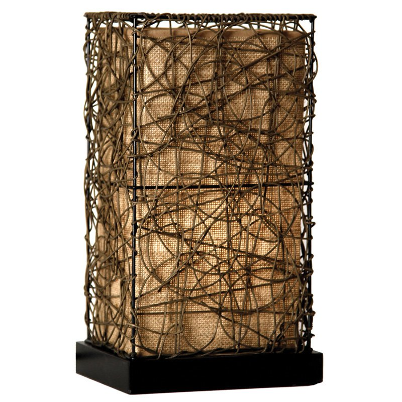 StyleCraft Natural Rattan Accent Table Lamp