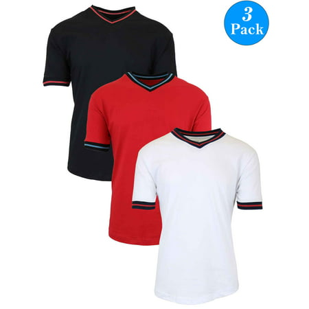 Men's Short Sleeve Egyptian Cotton V-Neck Tees with Trim (3-Pack, S-2XL)