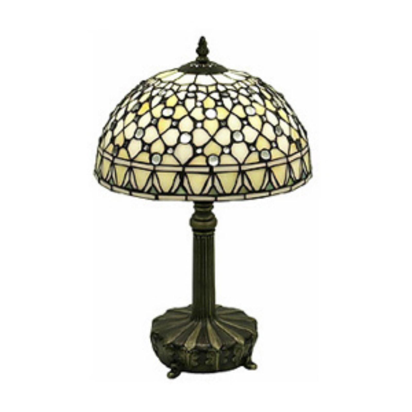 Warehouse of Tiffany T12043TGRA Tiffany-Style White Jewel Lamp