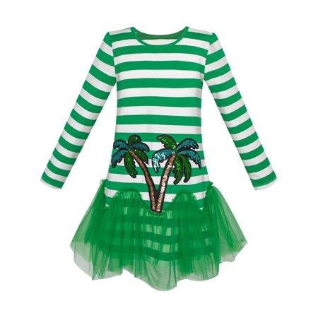 Girls Dress Green Coconut Tree Stripe Drop Waist Tutu 5 - Girls Green Dresses