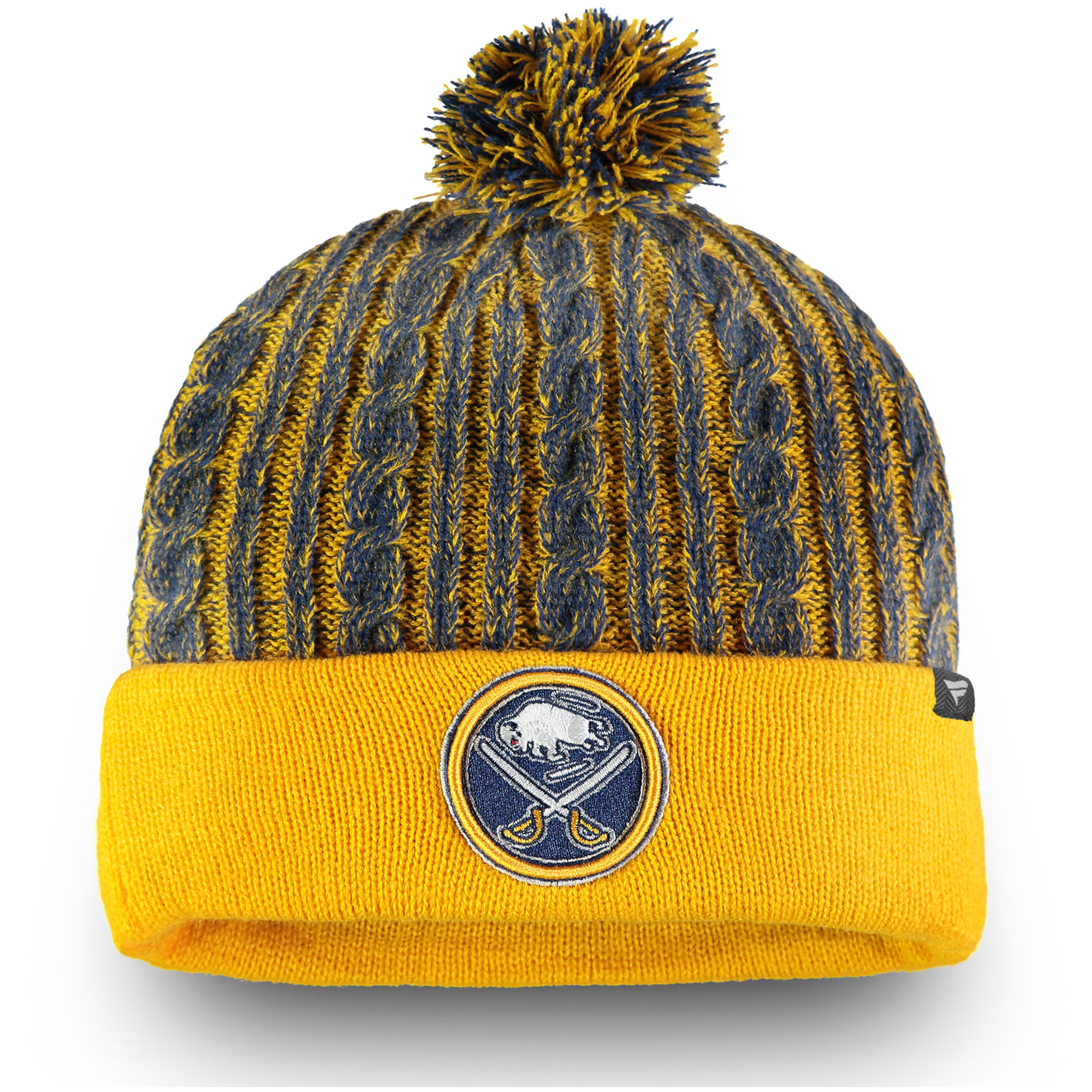 65dae89a42a ... closeout buffalo sabres fanatics branded womens iconic ace cuffed knit  hat with pom gold osfa 06ba2