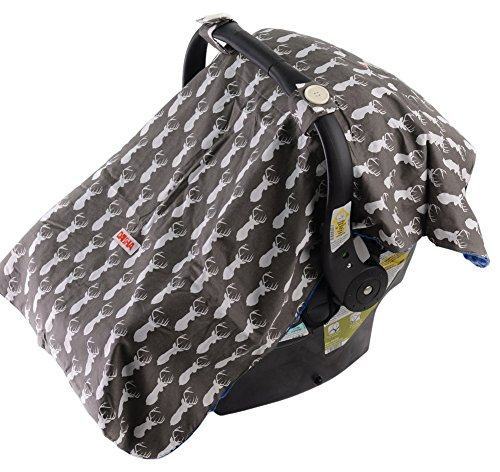 Danha Car Seat Canopy Cover (Grey Background with White Deer)