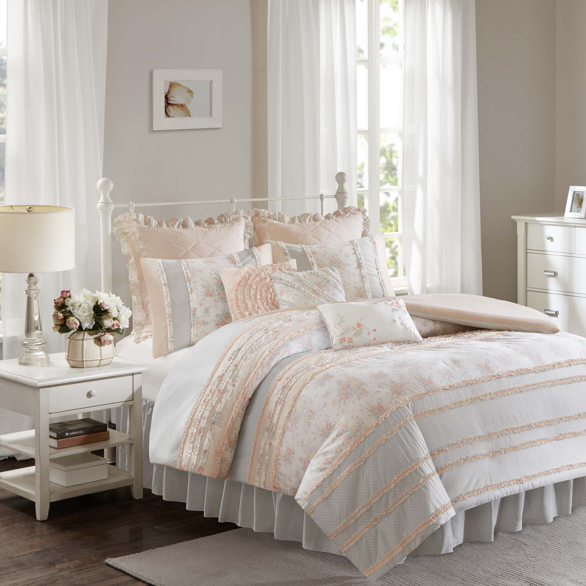 Home Essence Desiree Cotton Percale Duvet Cover Bedding Set