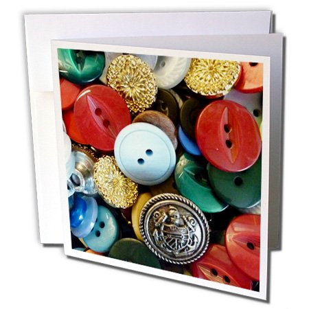 3dRose Image of Colorful Vintage Button Collection - Greeting Cards, 6 by 6-inches, set of 12
