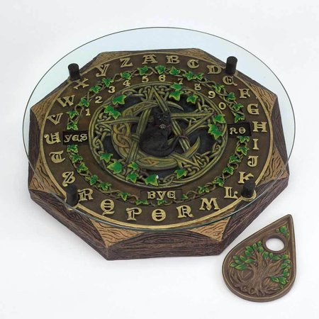 Black Cat and Crescent Moon Ouija Board with Planchette and Glass Top