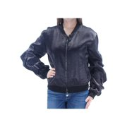 GUESS Womens Black Ruffled Zip Up Jacket  Size: M