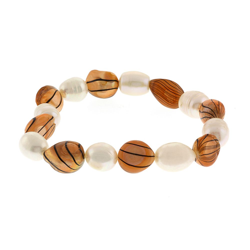 """7"""" Cultured Freshwater Brown and White Pearl Stretchy Bracelet"""