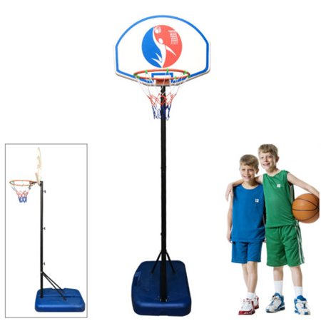 Zimtown 4.9-5.9ft Height Adjustable Basketball Hoops, Portable Basketball Goals System with Net, Rim, Backboard, for Kids Youth Boys Outdoor (Height Of A Basketball Hoop High School)