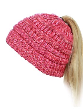 Women's Winter Chunky Cable Knit Messy High Bun Ponytail Beanie Hat (Beige)
