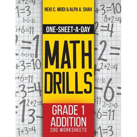 One-Sheet-A-Day Math Drills : Grade 1 Addition - 200 Worksheets (Book 1 of 24) - Halloween Math Worksheets Grade 7