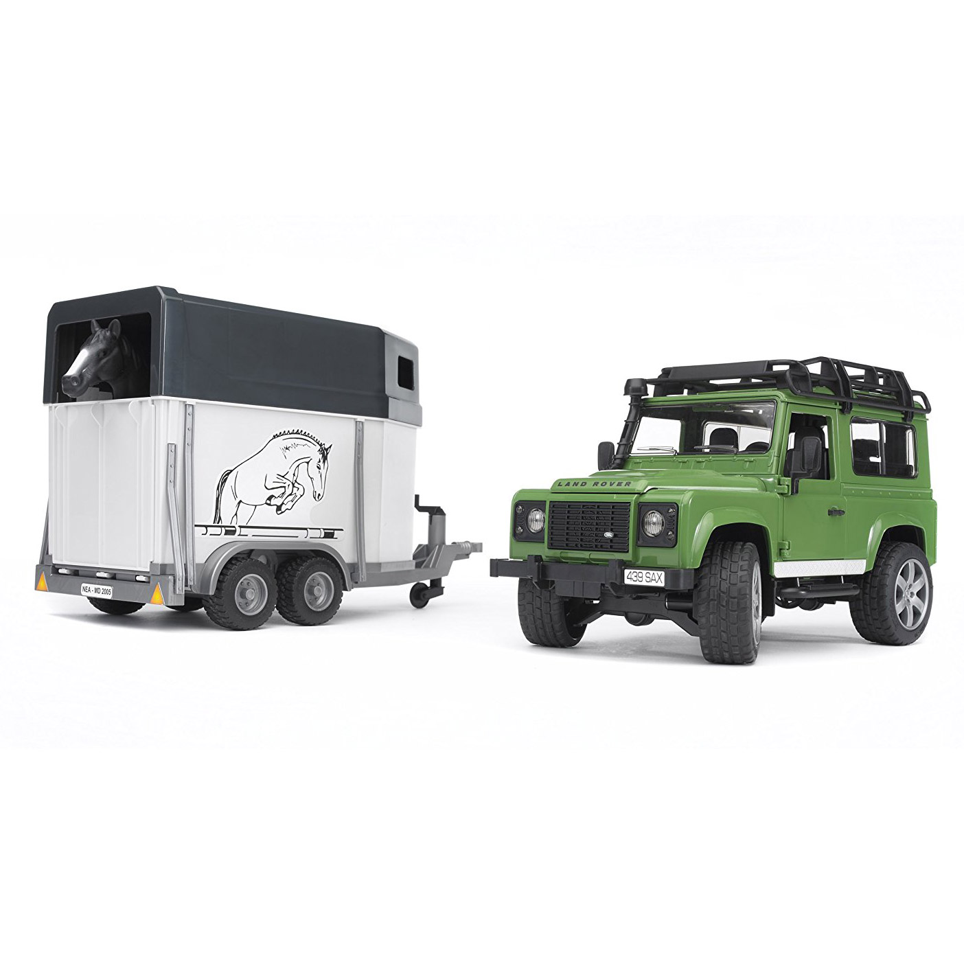 Bruder Toys Land Rover Defender Station Wagon with Horse Trailer and Black Horse