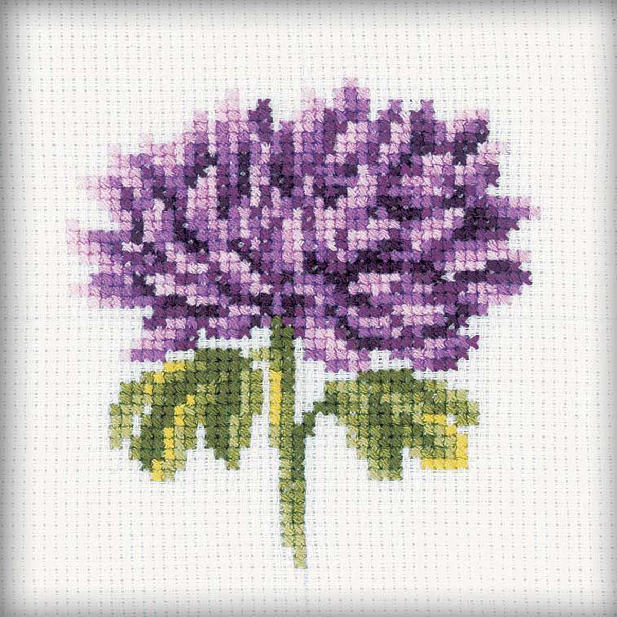 """Chrysanthemums Counted Cross-Stitch Kit, 4"""" x 4"""", 14-Count"""