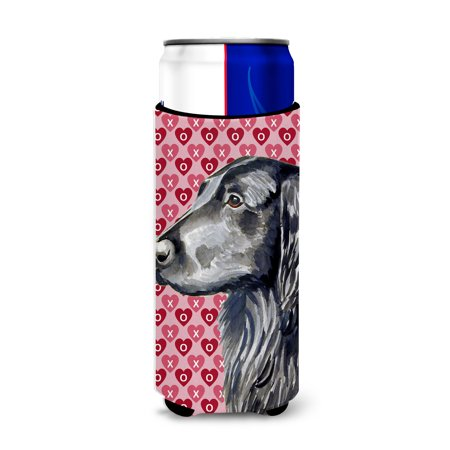Flat Coated Retriever Hearts Love and Valentine's Day Portrait Ultra Beverage Insulators for slim cans