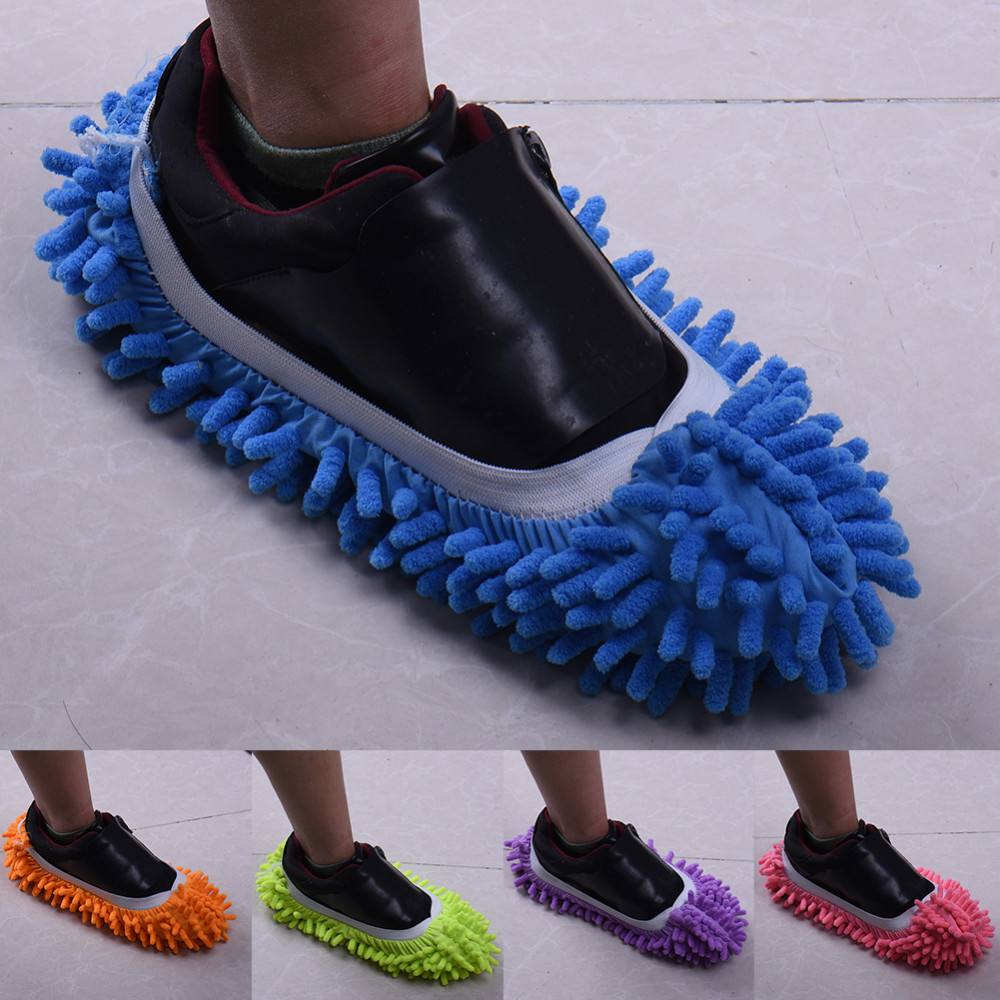 1 Pair Washable Dust Mop Slippers Microfiber Cleaning Mop Slippers Shoes Multifultional Dust Floor Cleaning Shoes Cover for House Kitchen Office