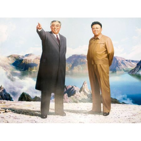 Korean Paper Art - Painting of Kim Jong Il and Kim Il Sung, Pyongyang, Democratic People's Republic of Korea, N. Korea Print Wall Art By Gavin Hellier