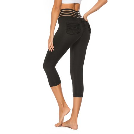 FITTOO Sexy High Waist Yoga Capris Pants Tummy Control Workout Ruched Butt Lifting Leggings with Pockets Textured Booty