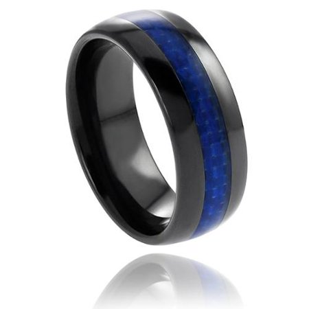 Vance Co  Mens Ceramic Blue Carbon Fiber Inlay Band