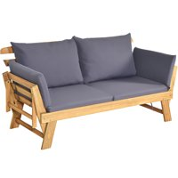 Outdoor Folding Daybed Patio Acacia Wood Convertible Couch Sofa Bed