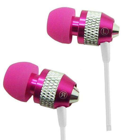 Super Bass Noise-Isolation Metal 3.5mm Stereo Earbuds/ Headset/ Handsfree for LG Stylo 3,X power 2, Aristo, M210, K3 2017, K4 2017, K8 2017, K10 2017, Tribute HD, Classic (Hot Pink) - w/ Mic