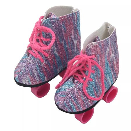 My Brittany's Purple Shimmer Roller Skates for American Girl Dolls and My Life as Dolls- 18 Inch doll Shoes (American Girl Skiing)