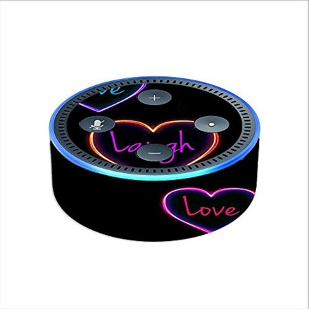 Skin Decal Vinyl Wrap for Amazon Echo Dot 2 (2nd generation) / Neon Hearts,