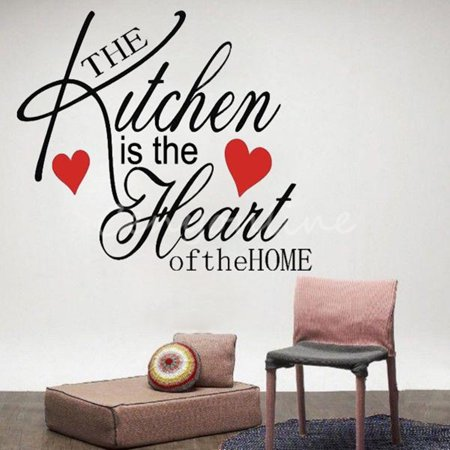 Kitchen Home Heart Removable Vinyl Wall Stickers DIY Decor Art Quote Home Decals - image 1 de 3