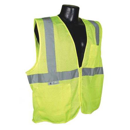 36in Polyester (RADIANS SV25-2ZGM-5X High Visibility Vest, 5XL, Green, 36in.)
