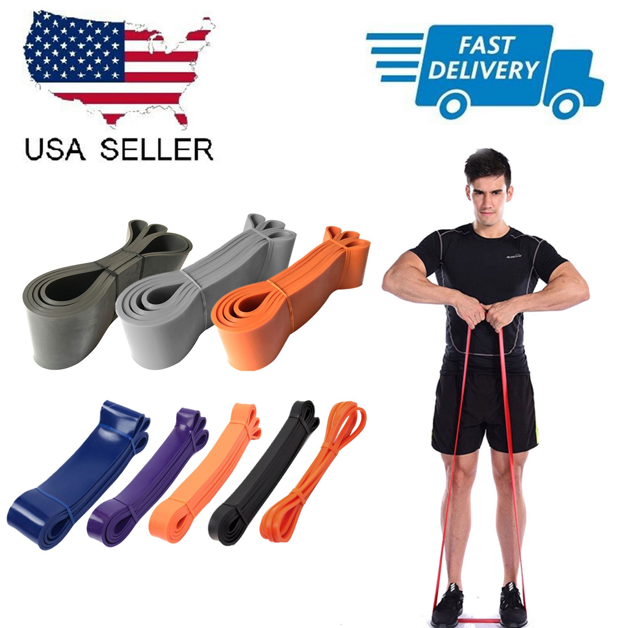 Details about  /Resistance Bands Rubber Set Home Workout Elastic Band Fitness Yoga Exercise Gym