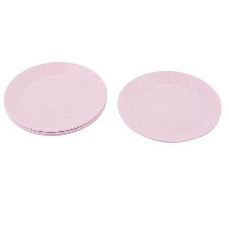 Household Restaurant Round Design Food Snack Dessert Dish Plate Pink 4 Pcs ()