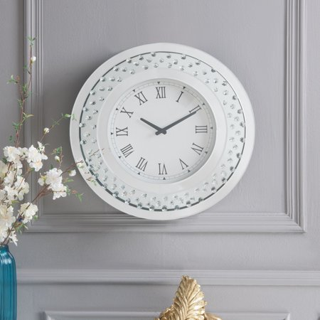 ACME Nysa Wall Clock in Mirrored and Faux Crystals