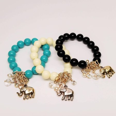 ON SALE - Lucky Elephant Charm Bead Bracelet - 2 Colors Get All 3 - Discounted