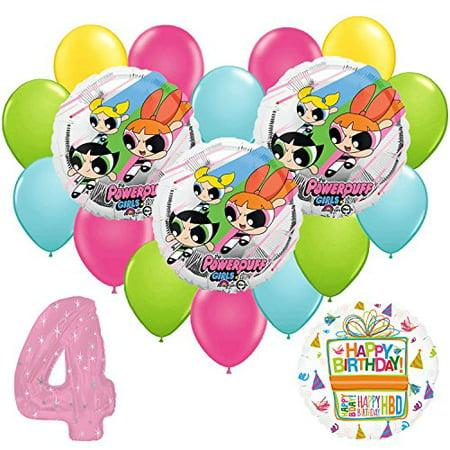 Powerpuff Girls 4th Birthday Party Balloon Supplies and Decorations (Birthday Girl Party Supplies)