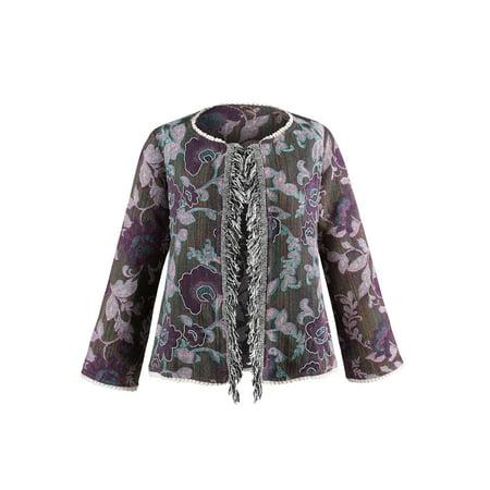 - Catalog Classics Women's Fringe Front Jacquard Jacket - Floral Embroidered Coat
