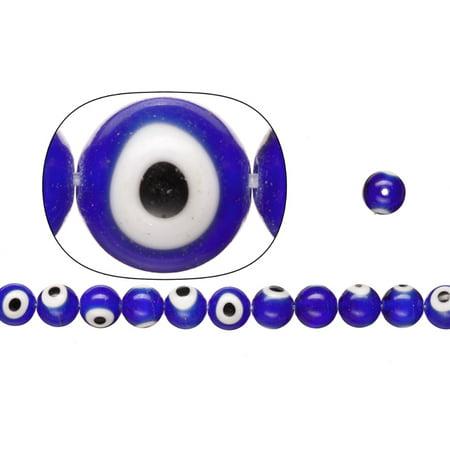 Glass Beads, Sapphire Blue Base Evil Eye Amulet Design, 9mm Round. Sold per pkg of 36cm String