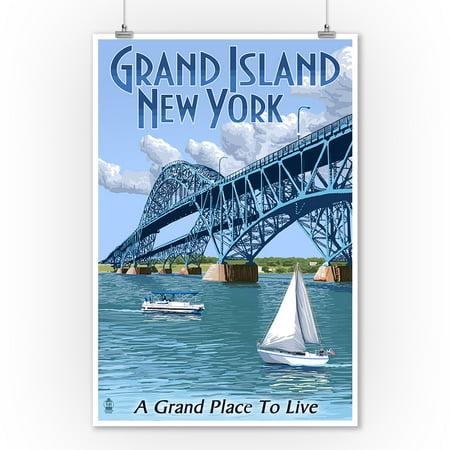 Grand Island, New York - Bridge Scene - Lantern Press Artwork (9x12 Art Print, Wall Decor Travel Poster)