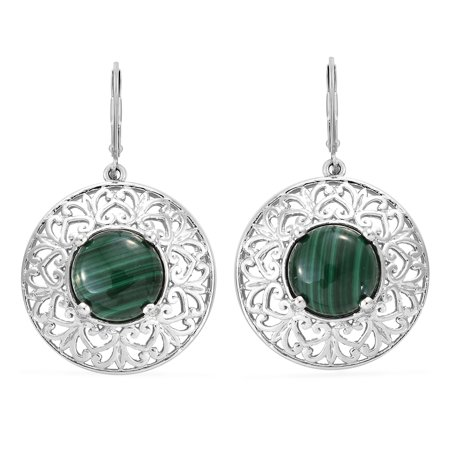 - Mix Metal Round Malachite Dangle Drop Earrings For Women