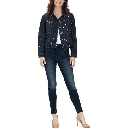 William Rast Womens Tammi Fall Studded Denim Jacket Black M