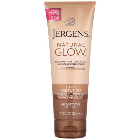 Jergens Natural Glow Daily Moisturizer, Medium to Tan Skin Tones, 7.5 (Best Tanning Lotion For Beginners)