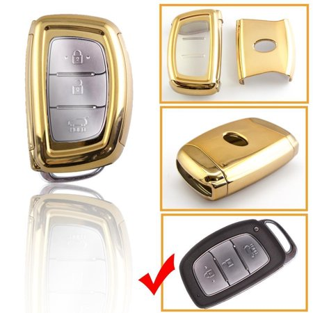 Xotic Tech TPU Gold Full Cover Sport Key Fob Case For Hyundai Accent Santa Fe Elantra Tucson