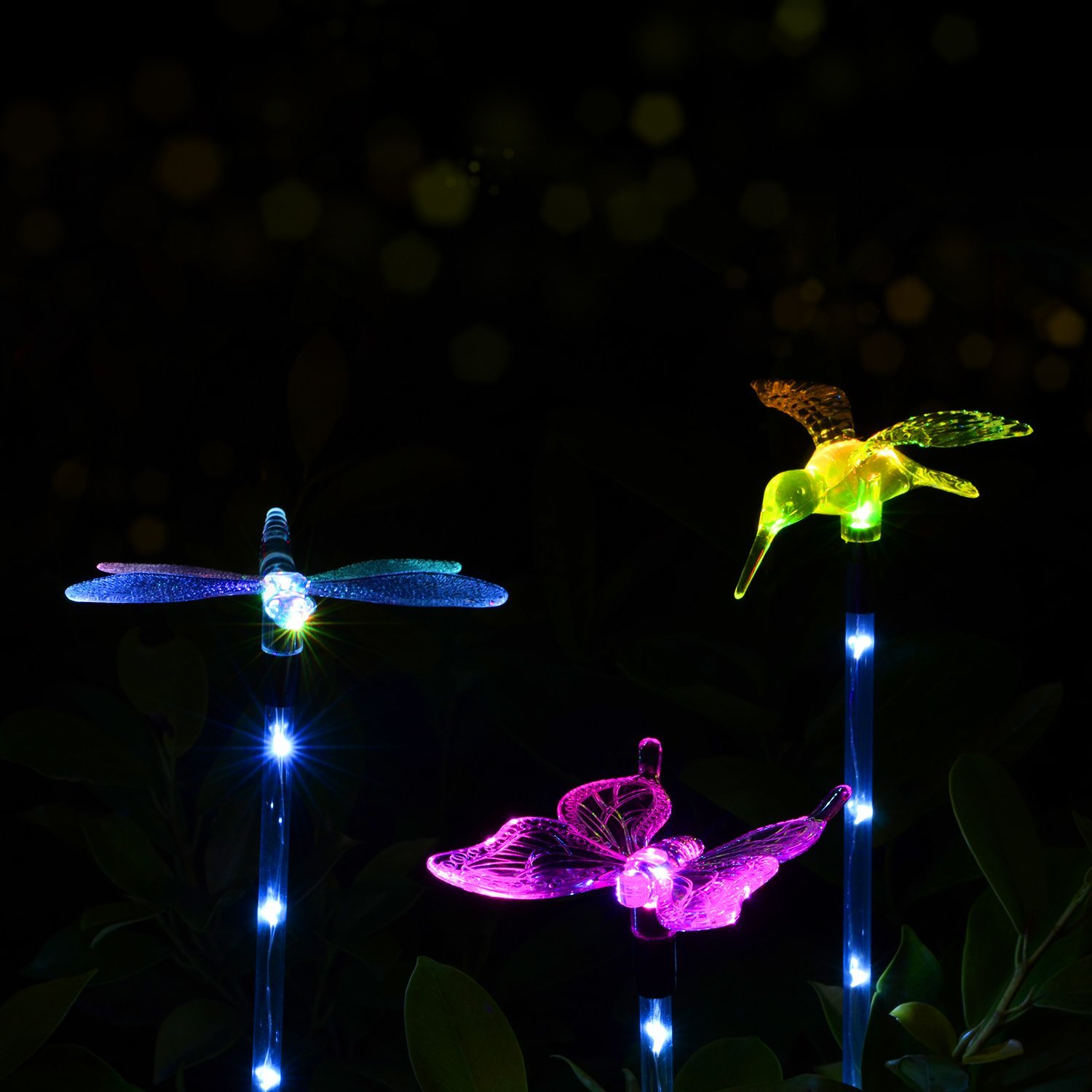 Bon Outdoor Solar Garden LED Light âu20acu201c Doingart Solar Powered Garden Stake Light  Chameleon Multi