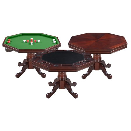Hathaway Kingston Walnut 3-in-1 Poker Table (3 In 1 Poker Table With Chairs)