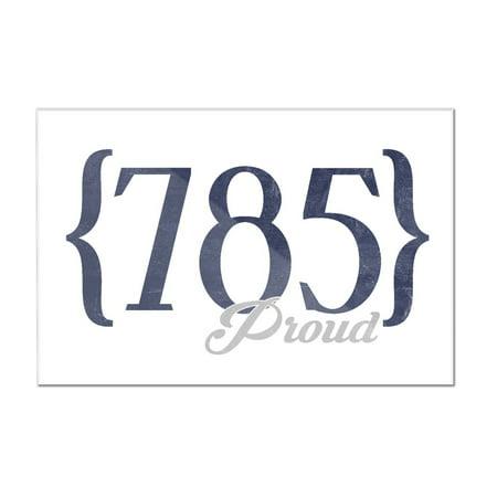Topeka, Kansas - 785 Area Code (Blue) - Lantern Press Artwork (12x8 Acrylic Wall Art Gallery - Kansas Acrylic