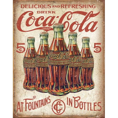 COKE - 5 Bottles Retro Tin Sign - 12.5x16