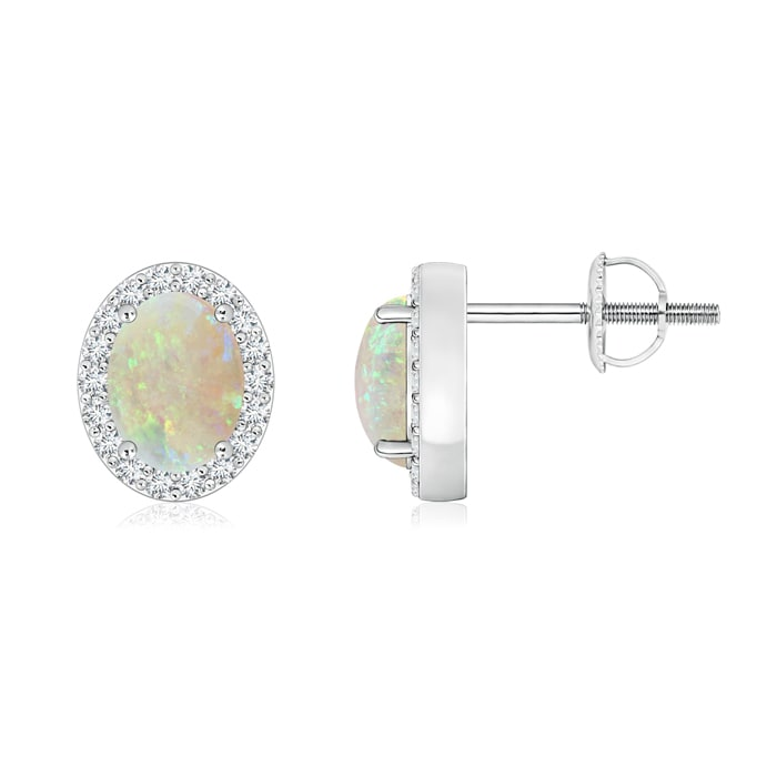 Angara 7x5mm Opal Earrings in Platinum - October Birthstone Earrings M8tI9oxO