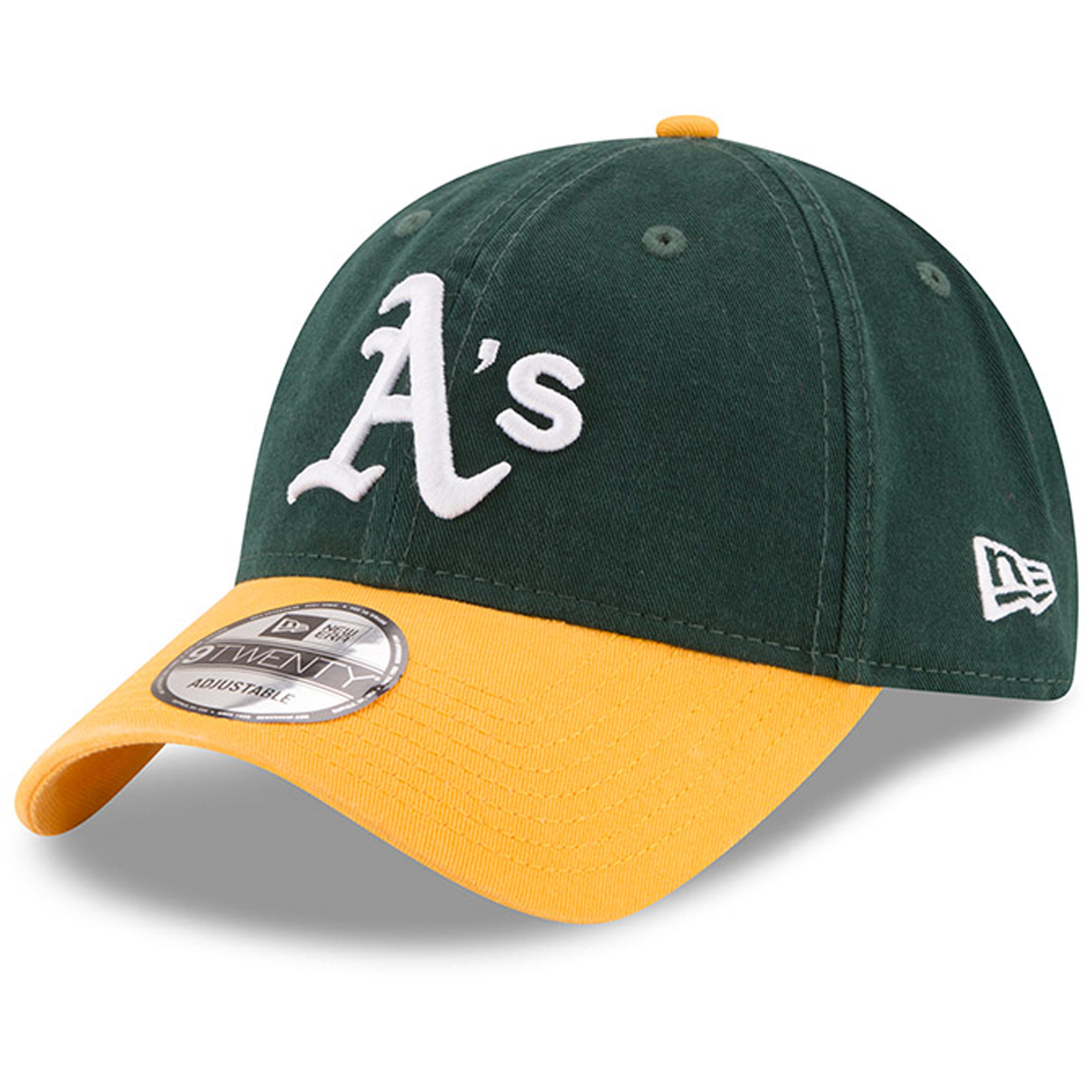 Oakland Athletics New Era Home Replica Core Classic 9TWENTY Adjustable Hat - Green/Gold - OSFA