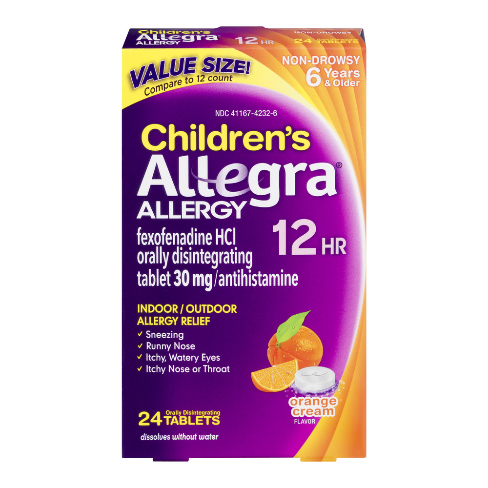 Allegra Children's Orally Disintegrating Tablets, Orange Cream 24ct