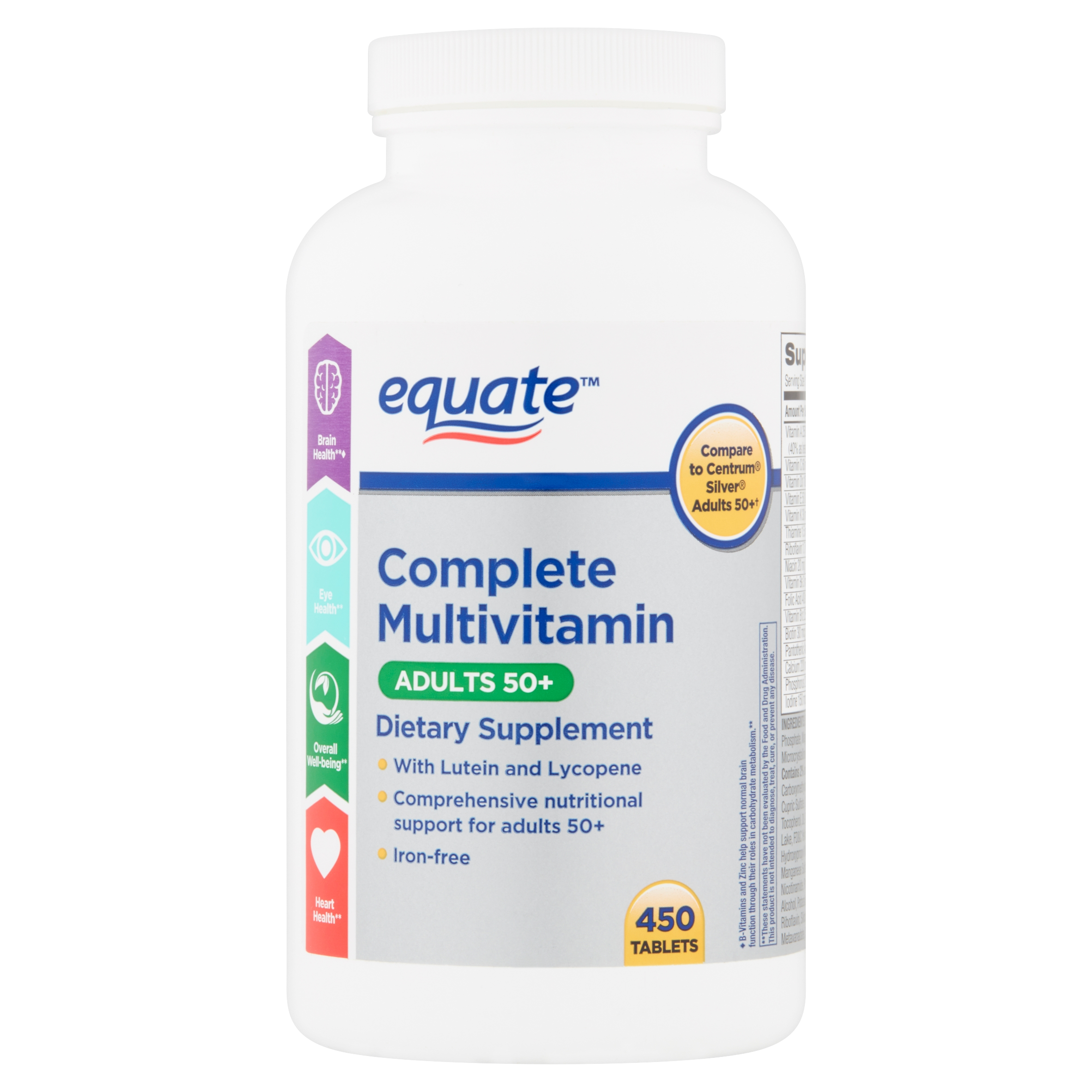 Equate Complete Multivitamin Tablets Adults 50 450 Count