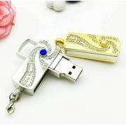 8G Swirling Crystal Encrusted USB Flash Drive Memory Stick