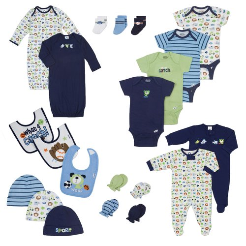 Gerber Newborn Baby Boy Perfect Baby Shower Gift Layette Set, 21-Piece