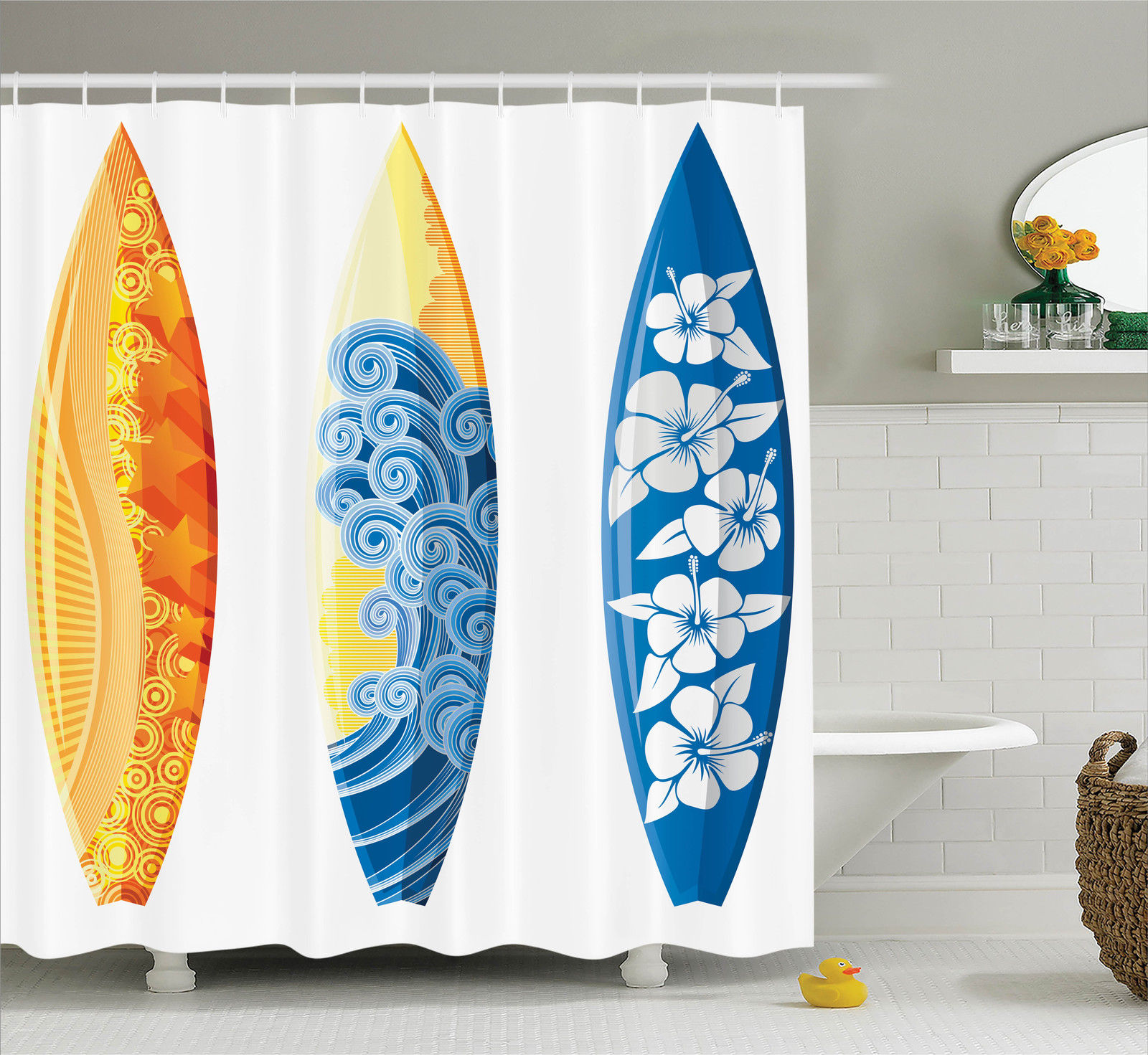 Surfboards Extreme Water Sport Lifestyle Print Beach Theme Shower Curtain Set